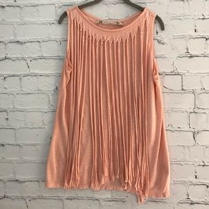 Chelsea & Violet Peach Fringed Tank Top Sleeveless